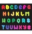 Creative multicolor alphabet set on black vector image