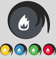 Fire flame icon sign Symbol on five colored vector image
