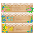 Wooden horizontal spring banners vector image vector image