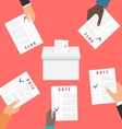 People Holding Ballot Papers vector image