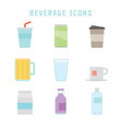 beverage icons vector image