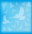 blue blurred background birds doves silhouettes vector image