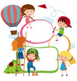 border template kids drawing and painting vector image