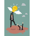 Businessman hold flying lightbulb get away from vector image