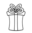 Gift box ribbon birthday event linear vector image