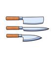 knifes flat set - cleaver carving steak vector image