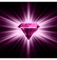 Pink diamond on bright background vector image