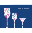 pink flowers three wine glasses silhouettes vector image