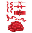 red ribbon - realistic set of objects vector image