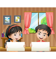Two kids with empty signboards inside the house vector image vector image