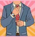 pop art businessman adjusting tie male fashion vector image