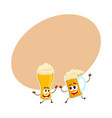 funny smiling beer glass and mug character friends vector image vector image