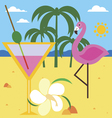 Summer still life with flamingo vector image
