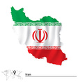 Map of Iran with flag vector image