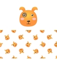 Puppy Head Icon And Pattern vector image