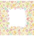 Doodle Hearts Vertical Frame Background Border vector image