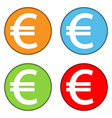 Euro sign button set vector image