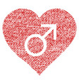male love heart fabric textured icon vector image