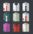 set of different flat-style shirts casual and vector image