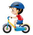 boy on bike wearing blue helmet vector image