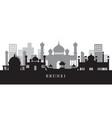 brunei landmarks skyline in black and white vector image