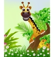 cute giraffe cartoon smiling with tropical forest vector image