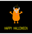 Happy Halloween card Orange monster with eyes vector image