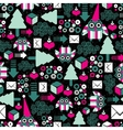 Seamless pattern with winter owl vector image