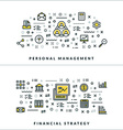 Thin Line Personal Management and Financial vector image