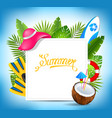 tropical exotic design card with beach accessories vector image