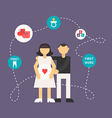 Young Parents Flat Design with Icons vector image