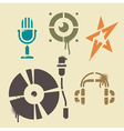 Stencil music icons vector image