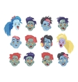 Zombies Heads Flat Collection vector image