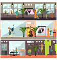 set of art and craft posters in flat style vector image