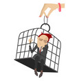 sad man in the cage vector image