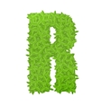 Uppecase letter R consisting of green leaves vector image