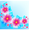 Blue background with decorative flower and leaf vector image vector image