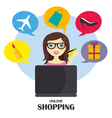girl with a credit card shopping online vector image