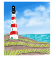 lighthouse at the sea coast and the sea vector image