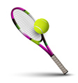 Tennis symbols racket and ball isolated on white vector image