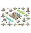 isometric city constructor elements set vector image