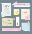 set office paper folded pages with charts vector image