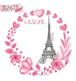 Paris in loveWatercolor floral pink wreathEiffel vector image