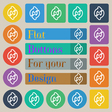 Refresh icon sign Set of twenty colored flat round vector image
