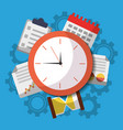 time clock business work calendar icons vector image