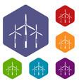 wind generator turbines icons set hexagon vector image