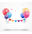Balloon with confetti and birthday bunting flags vector image