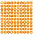 100 favorite work icons set orange vector image