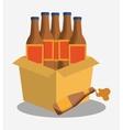 bottles beer cardboard box vector image