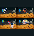 four space scenes with astronauts flying vector image